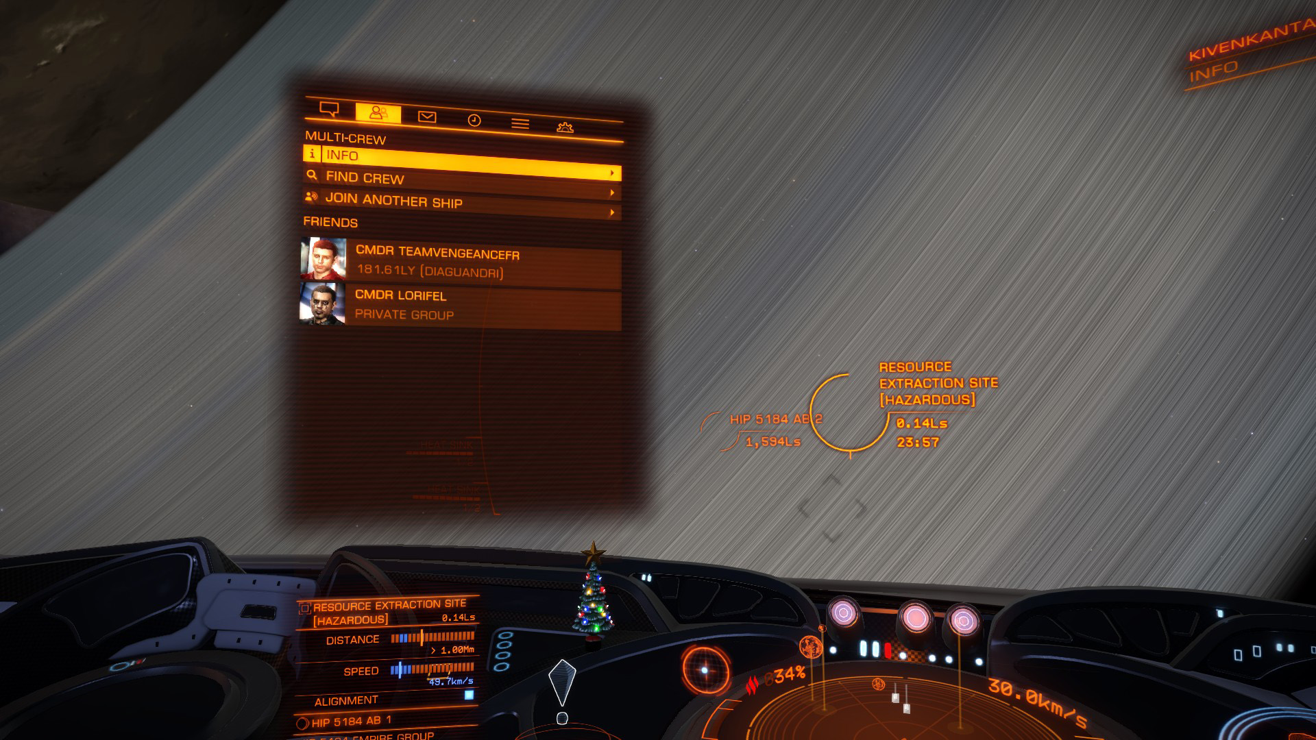 Elite: Dangerous beginner's guide: a screenshot showing the multicrew interface