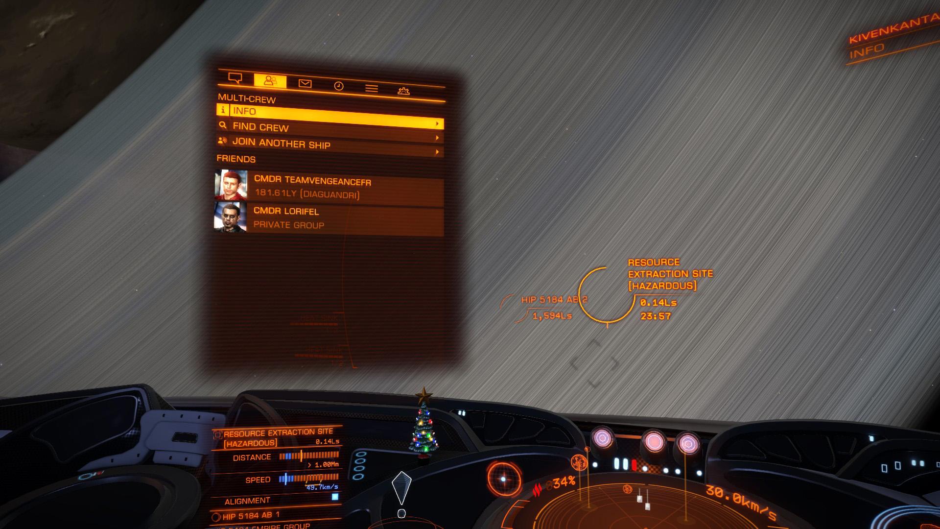 Elite: Dangerous beginner's guide: a screenshot showing the multicrew interface