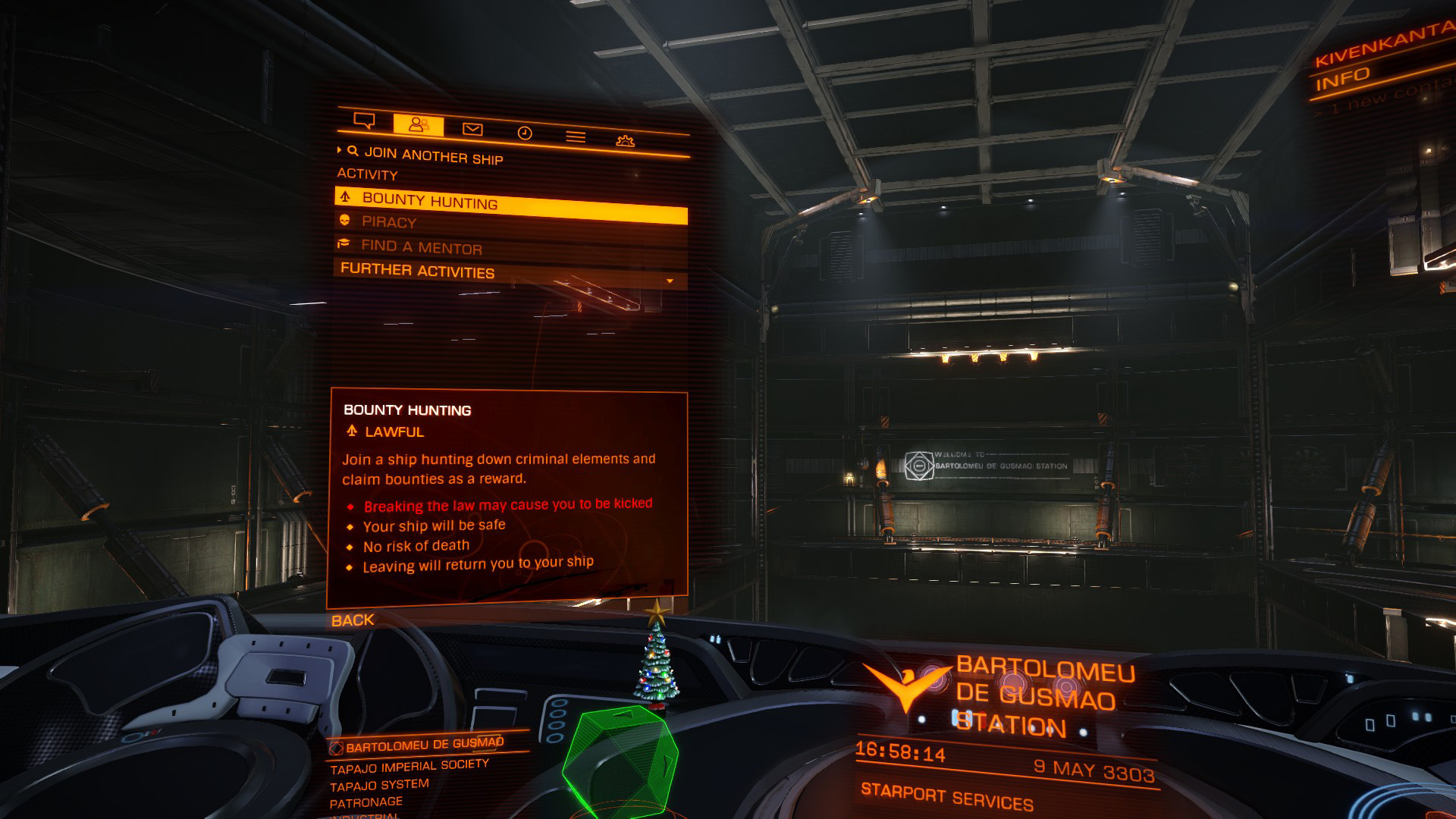 Elite: Dangerous beginner's guide: a screenshot showing how to join or create a multicrew session