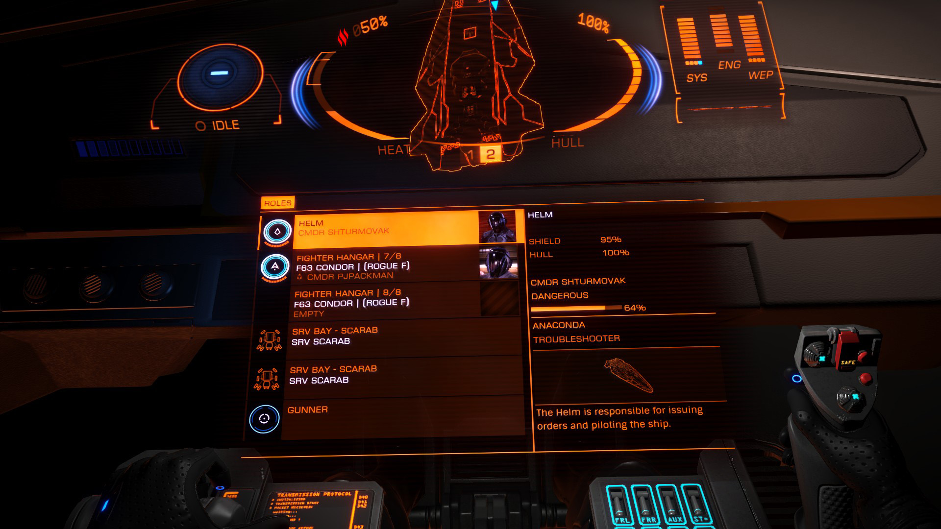 Elite: Dangerous beginner's guide: a screenshot showing how to choose a multicrew role in another player's ship