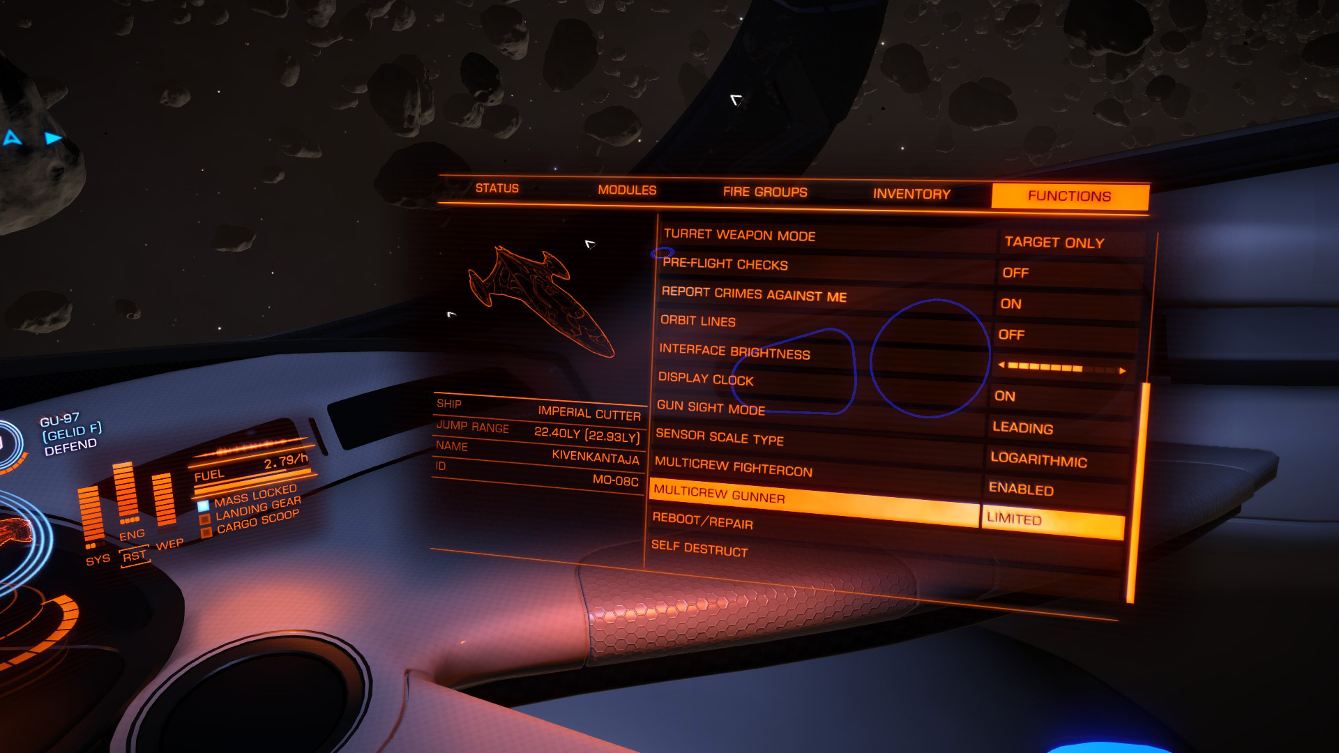 Elite: Dangerous beginner's guide: a screenshot showing multicrew options in the functions tab