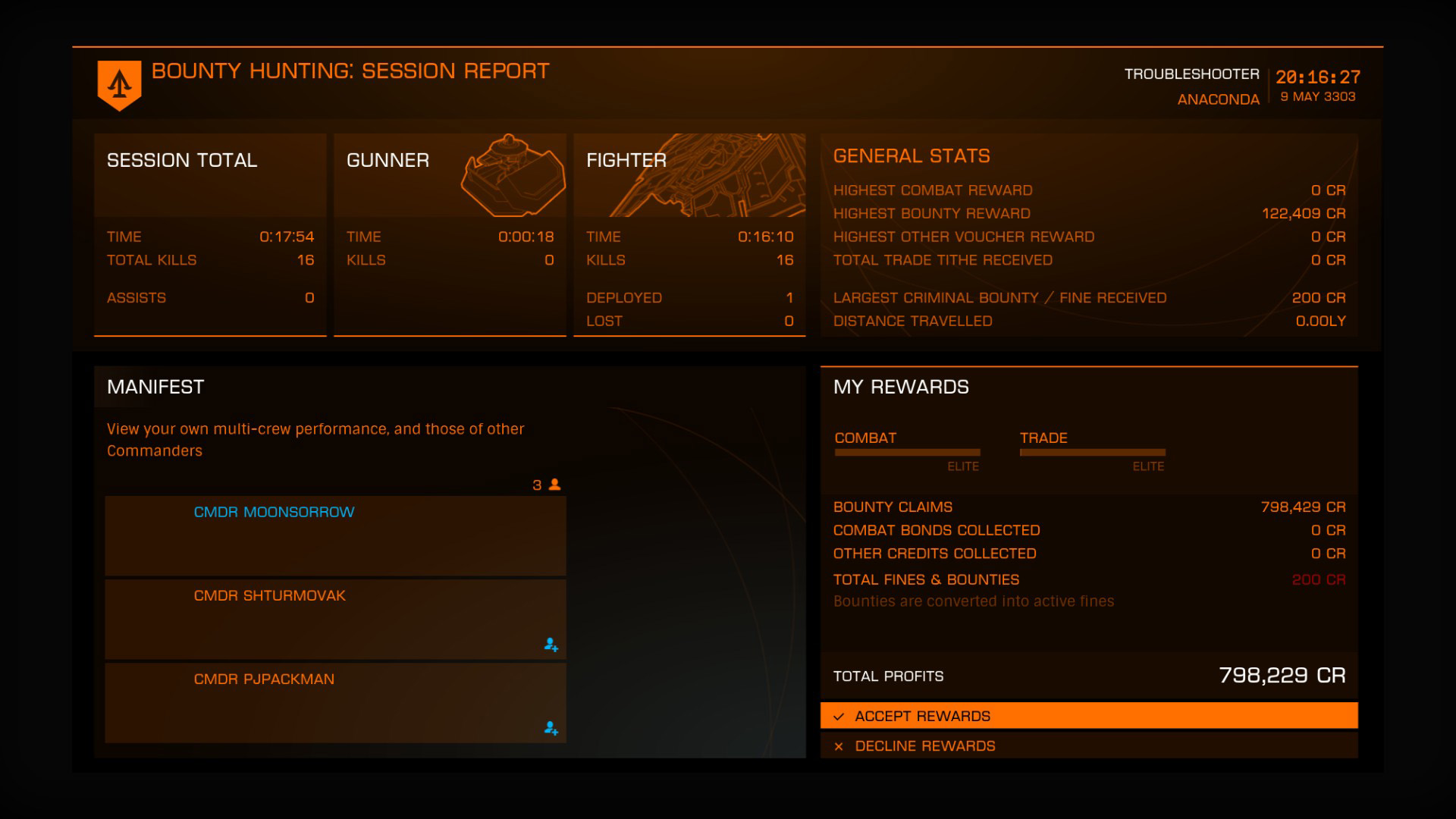 Elite: Dangerous beginner's guide: a screenshot of the multicrew session report