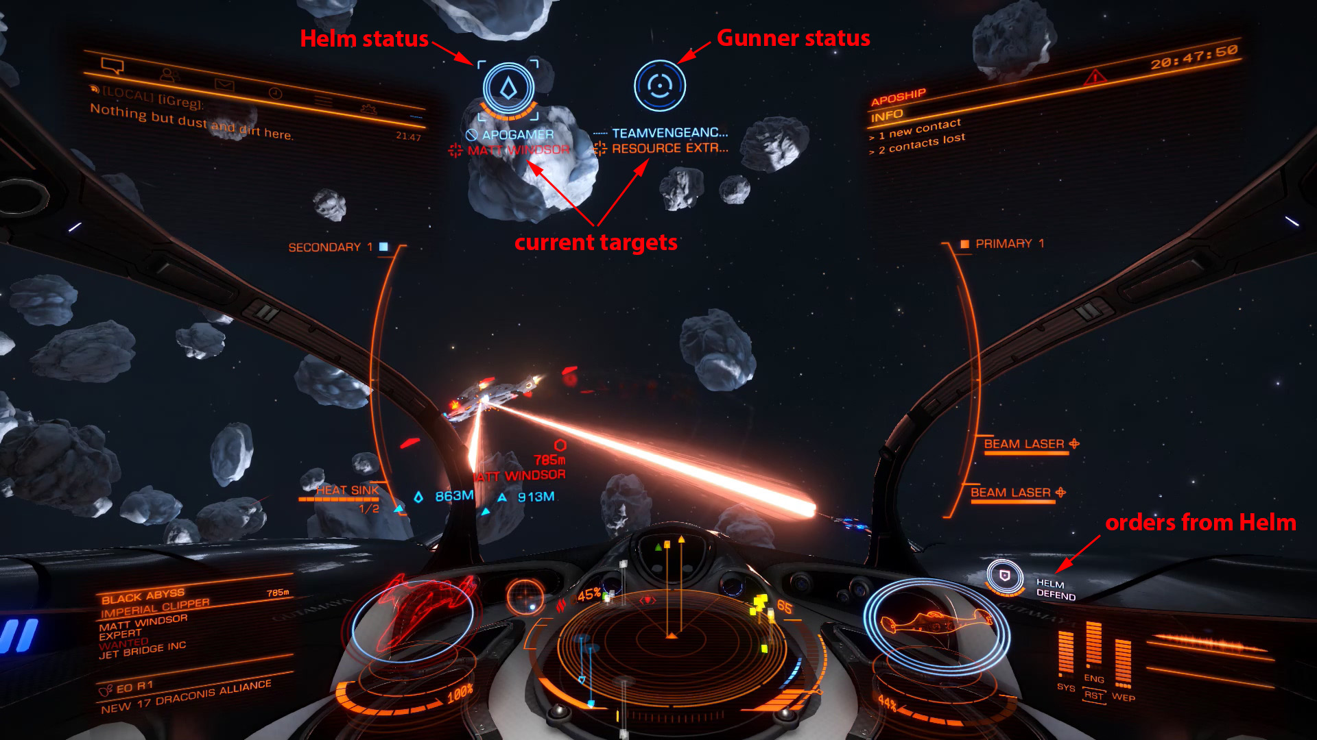 Elite: Dangerous beginner's guide: an annotated screenshot of the multicrew fighter nterface