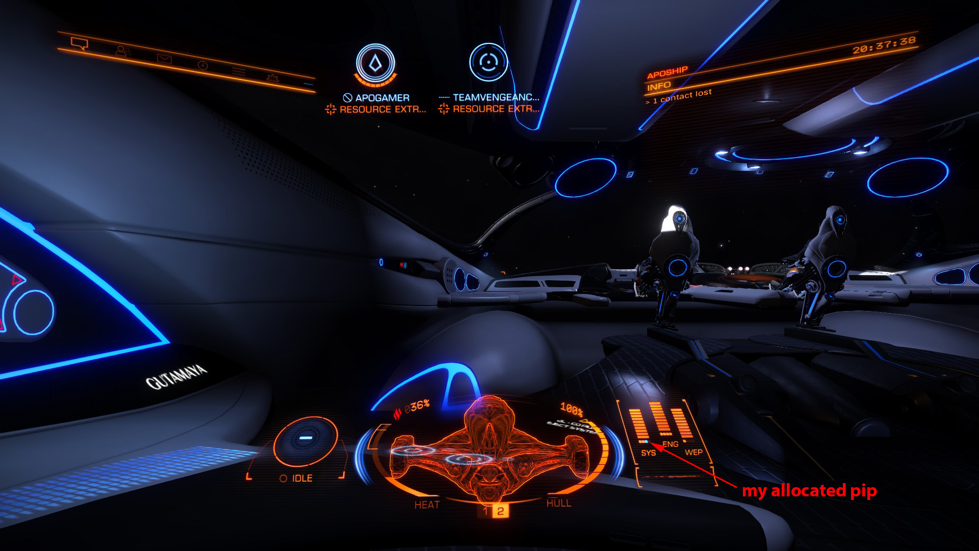 Elite: Dangerous beginner's guide: an annotated screenshot of multicrew pip allocation