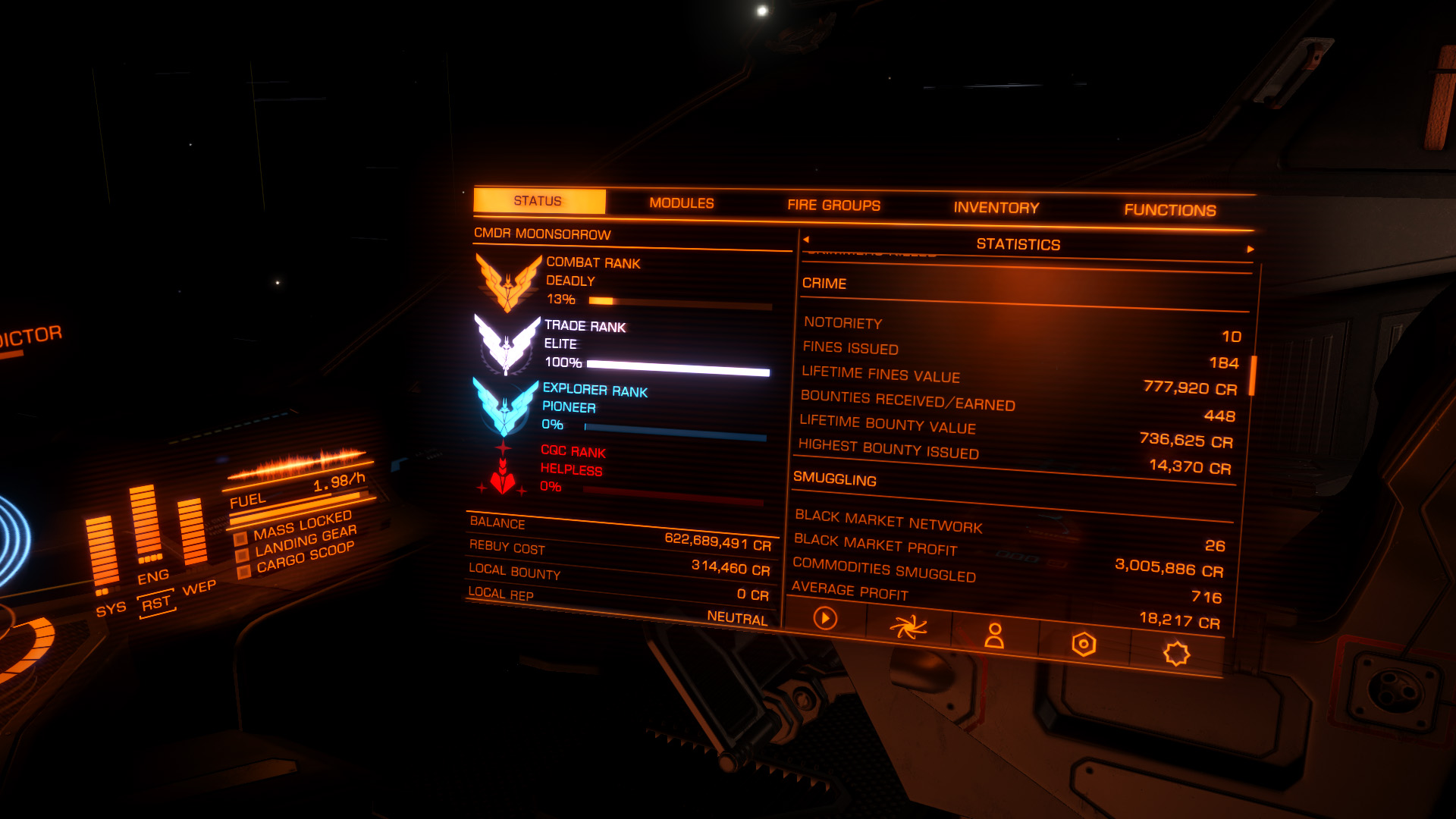 Elite: Dangerous beginner's guide: A screenshot showing where to find your notoriety status
