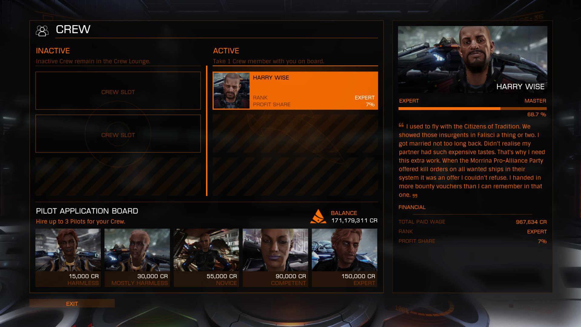 Elite: Dangerous beginner's guide: a screenshot showing the crew lounge