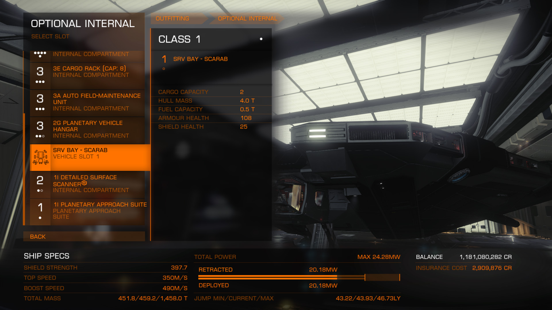 Elite: Dangerous beginner's guide: a screenshot showing where to buy an SRV in the outfitting menu