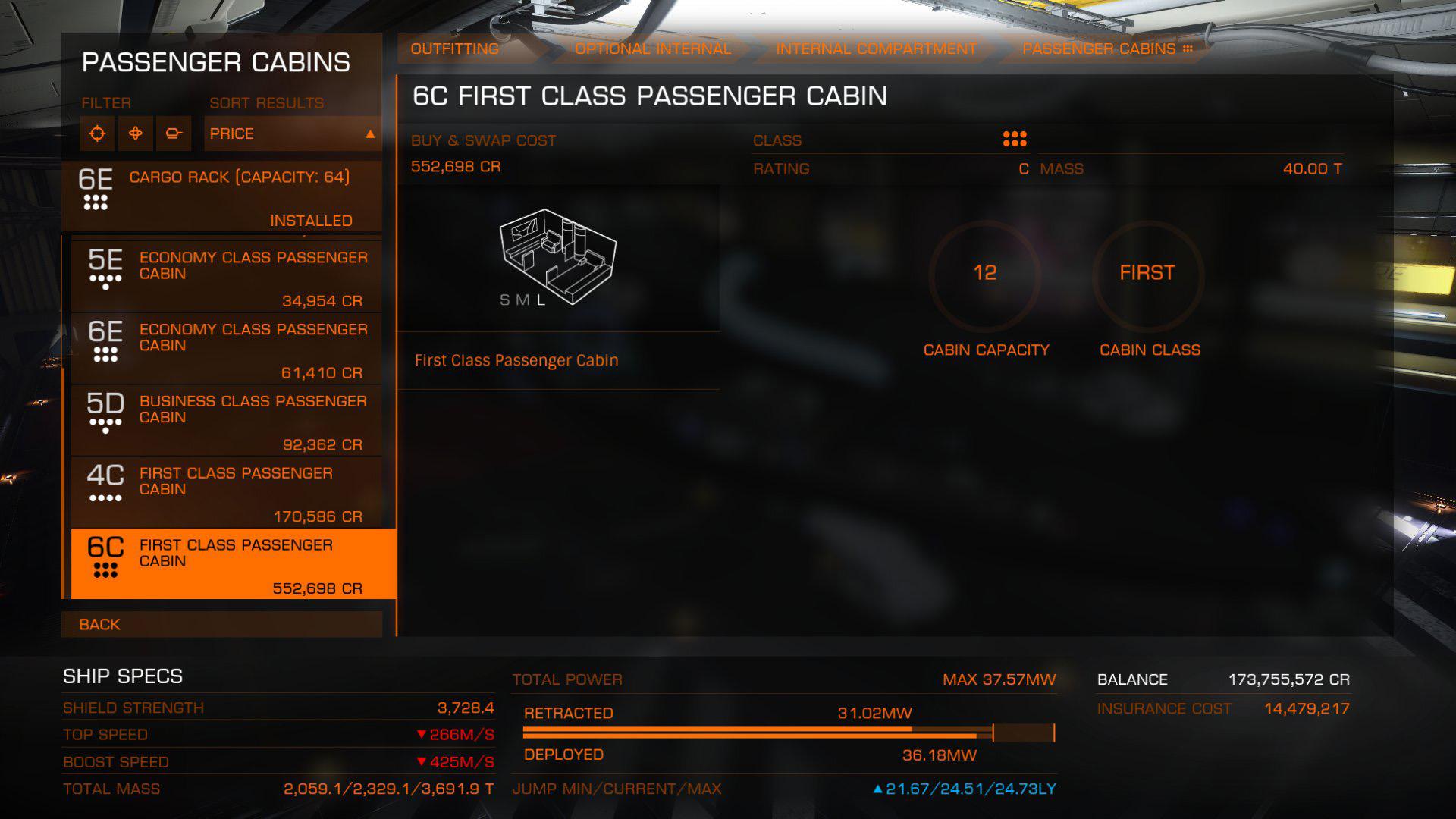 Elite: Dangerous beginner's guide: a screenshot showing various types of passenger cabin modules
