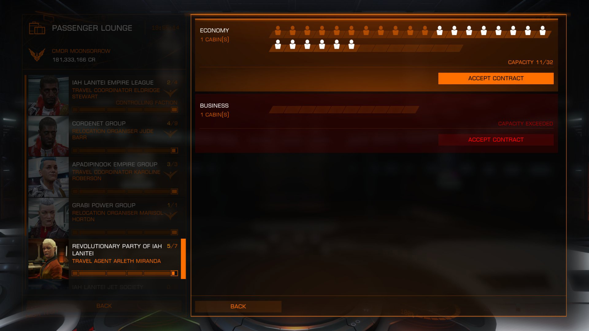 Elite: Dangerous beginner's guide: a screenshot showing how passenger cabins are shared.