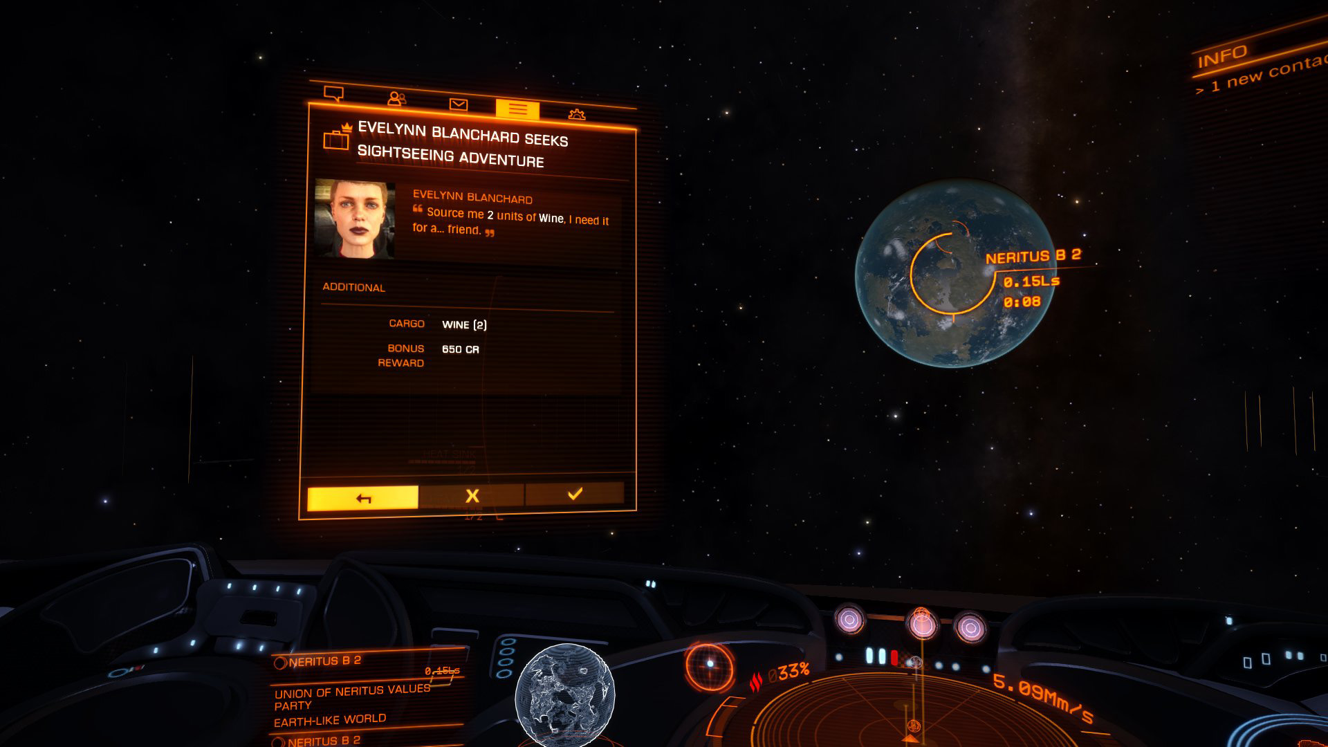 Elite: Dangerous beginner's guide: a screenshot showing a passenger demand appearing in the comms panel