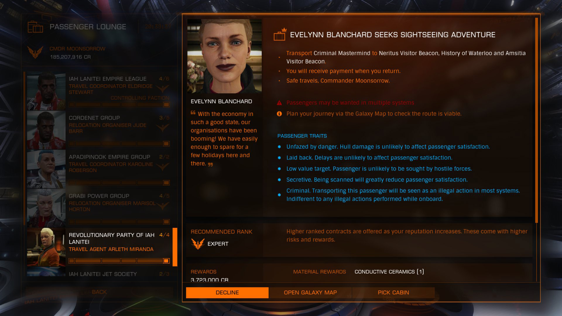 Elite: Dangerous beginner's guide: a screenshot showing a typical passenger mission briefing