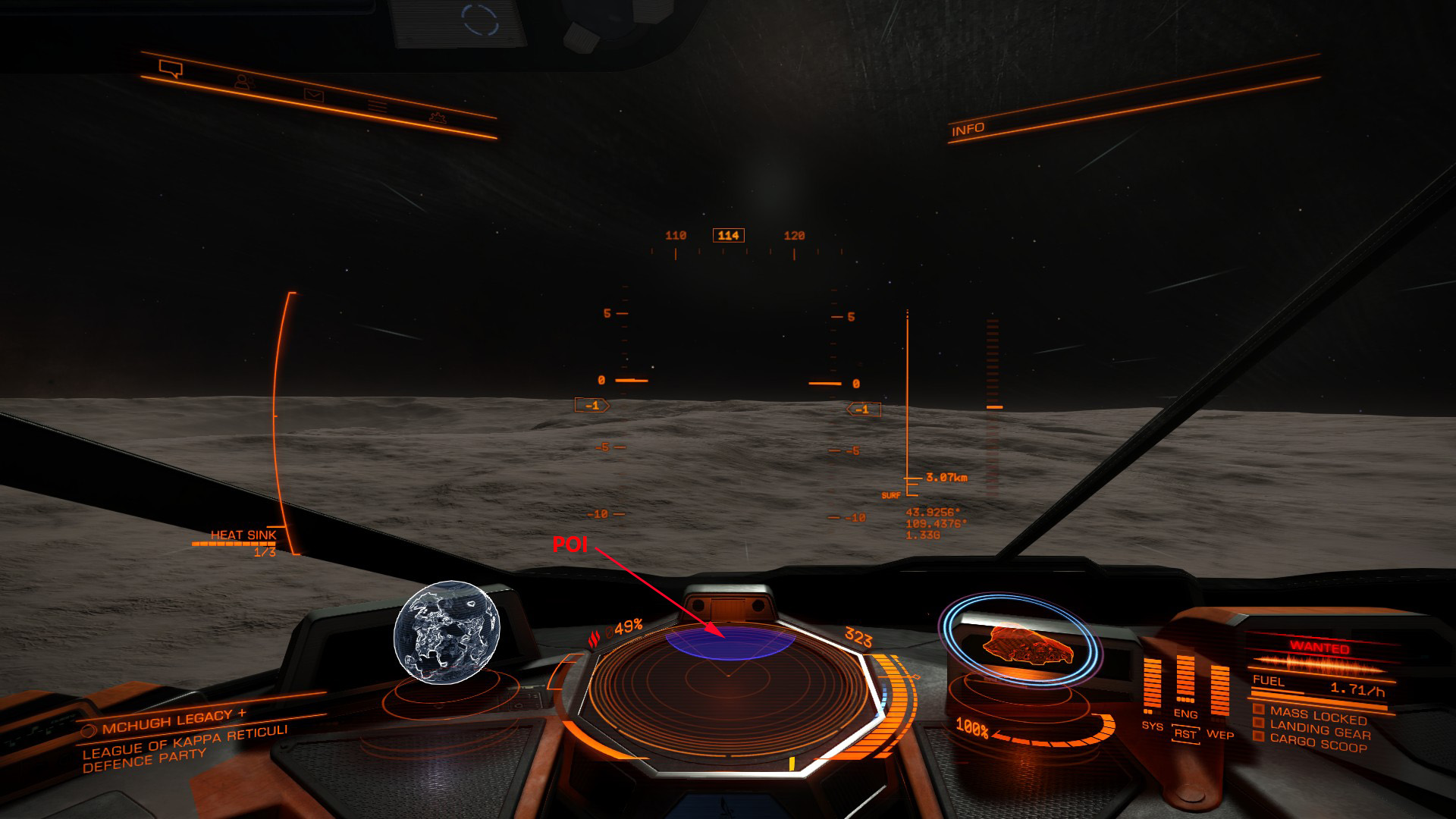 Elite: Dangerous beginner's guide: an annotated screenshot showing the appearance of POIs on the scanner