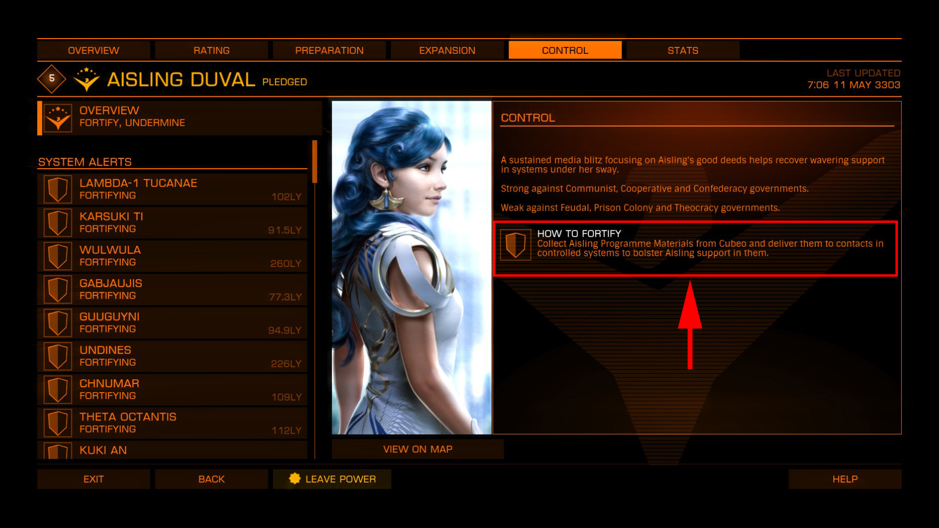 Elite: Dangerous beginner's guide: a screenshot showing a faction-specific powerplay mission (fortify)