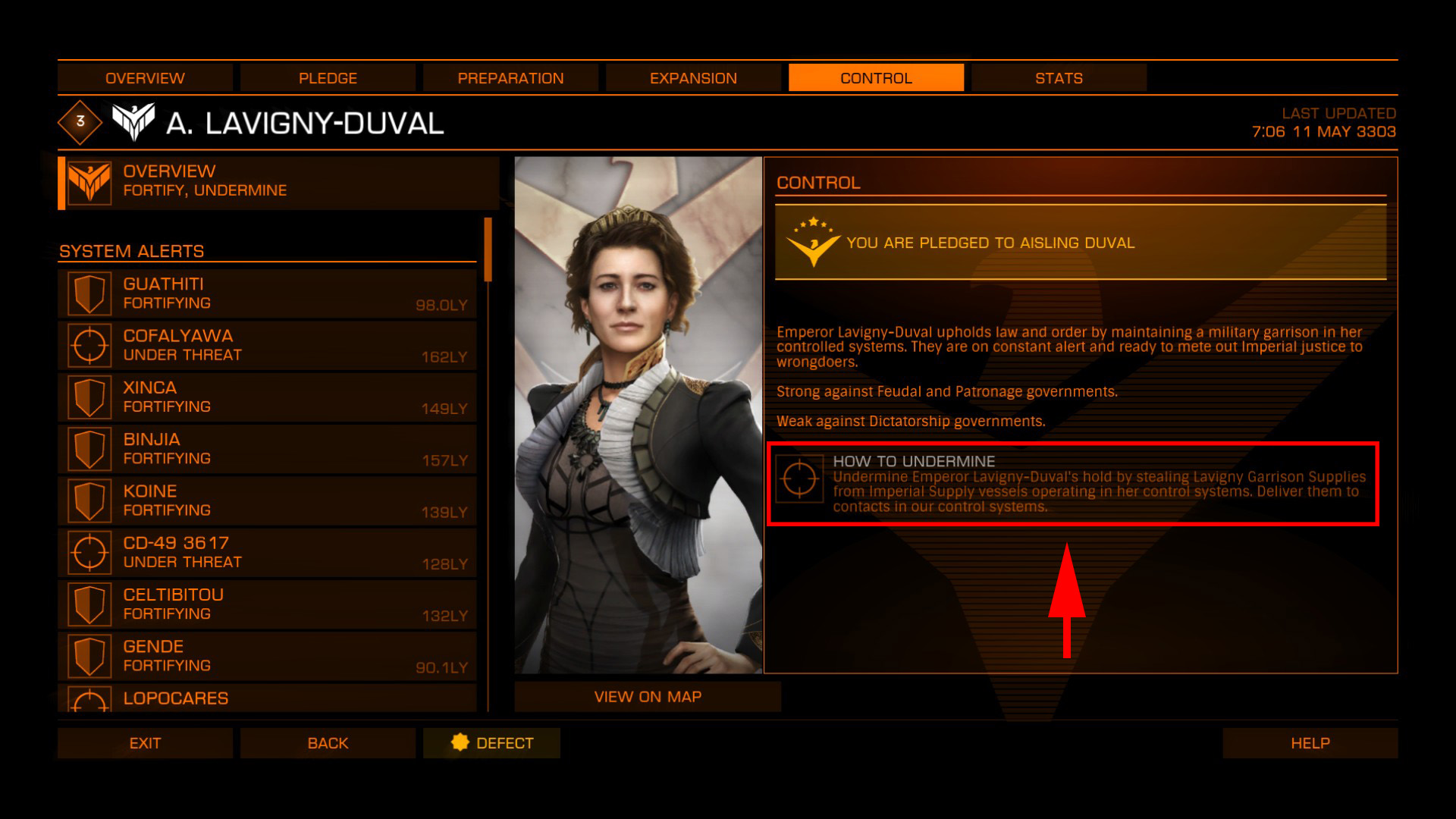 Elite: Dangerous beginner's guide: a screenshot showing a faction-specific powerplay mission (undermine)
