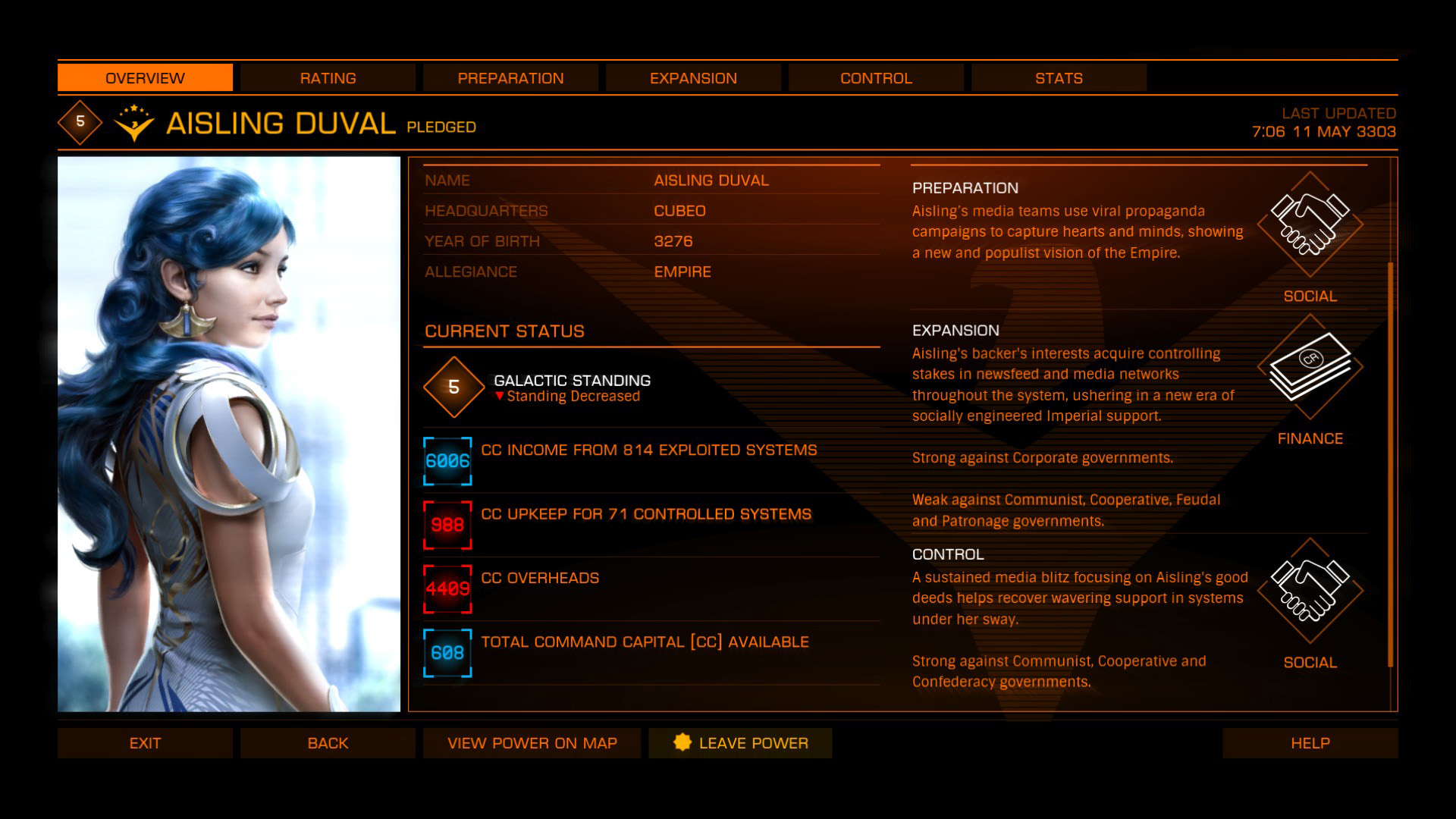Elite: Dangerous beginner's guide: a screenshot showing command capital info for Aisling Duval