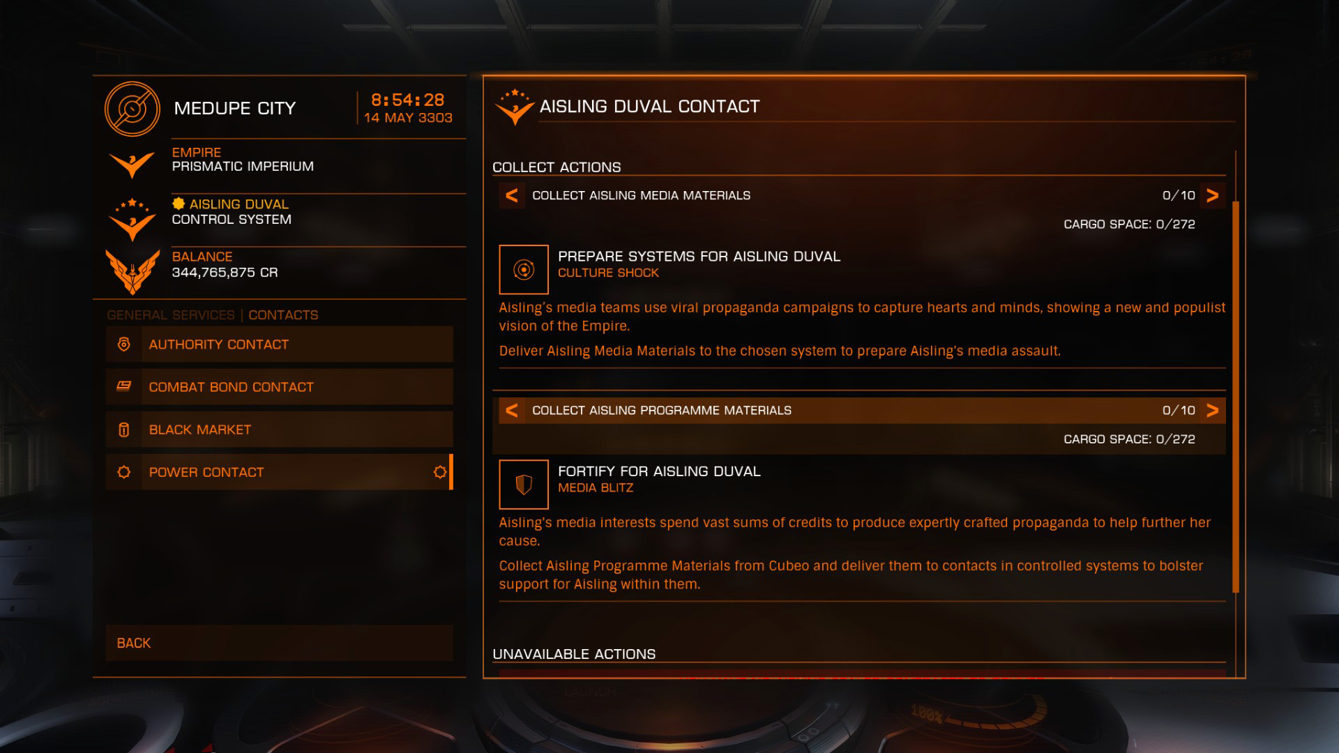 Elite: Dangerous beginner's guide: a screenshot showing a faction-specific powerplay commodities