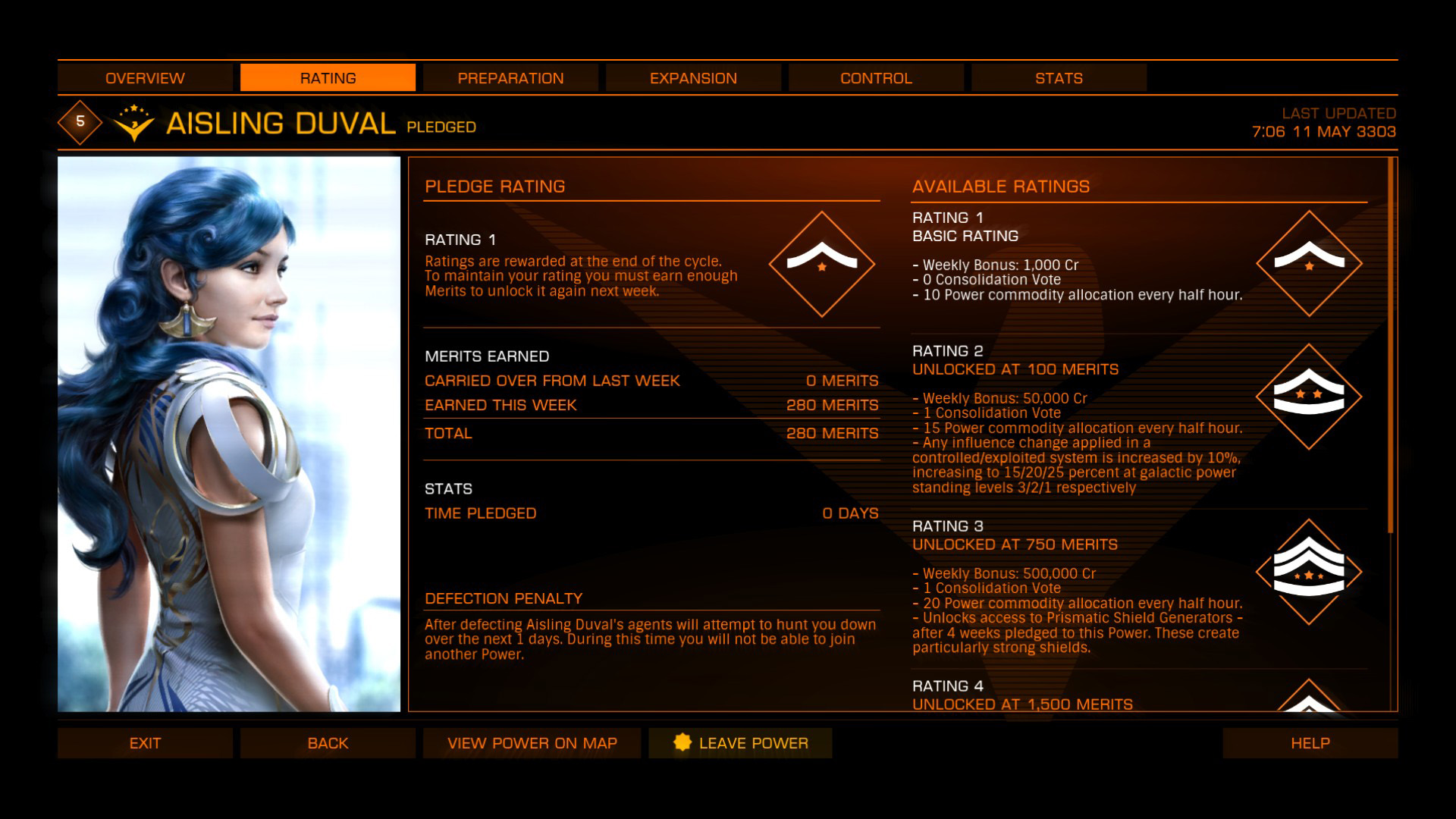 Elite: Dangerous beginner's guide: a screenshot showing a faction-specific powerplay rewards