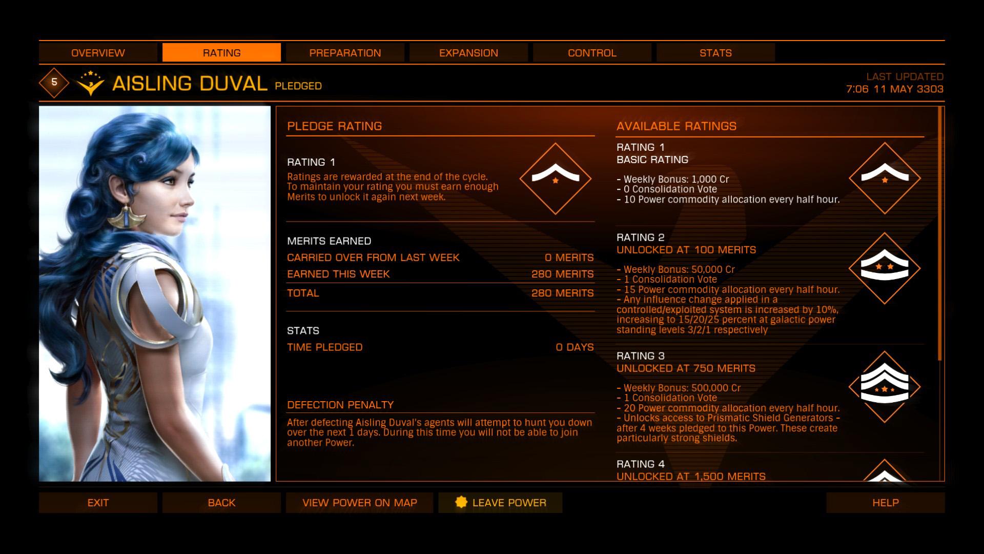 Elite: Dangerous beginner's guide: a screenshot showing a faction-specific powerplay rewards
