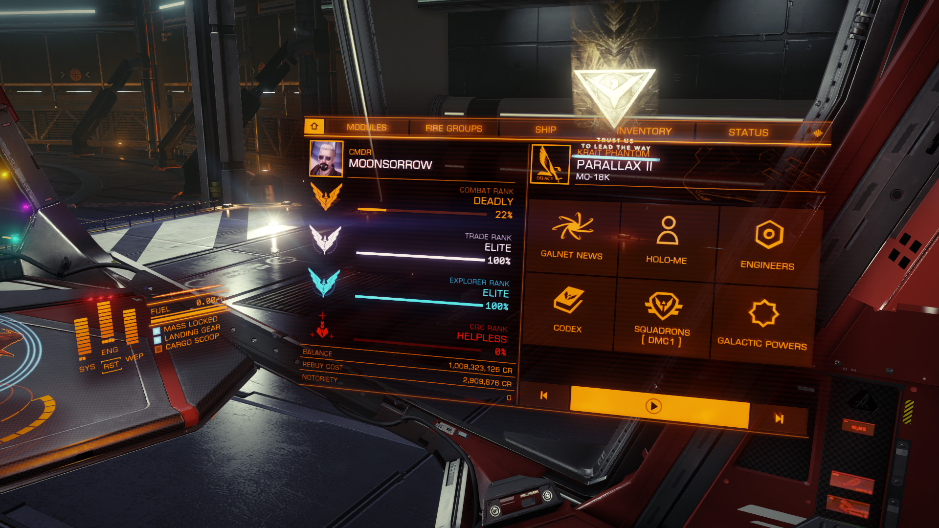 Elite: Dangerous beginner's guide: A screenshot showing where to find your ship rebuy cost