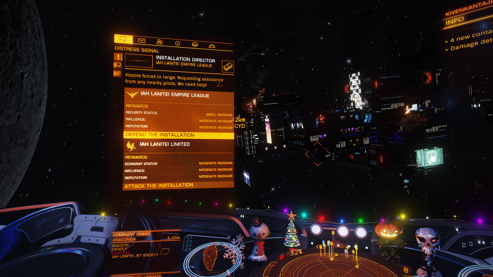 Elite: Dangerous beginner's guide: a screenshot showing a scenario appearing in the comms panel