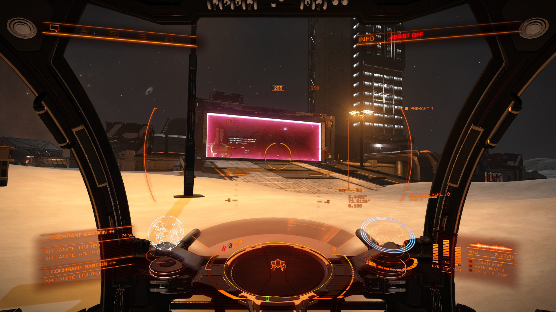 Elite: Dangerous beginner's guide: a screenshot showing a planetary security barrier