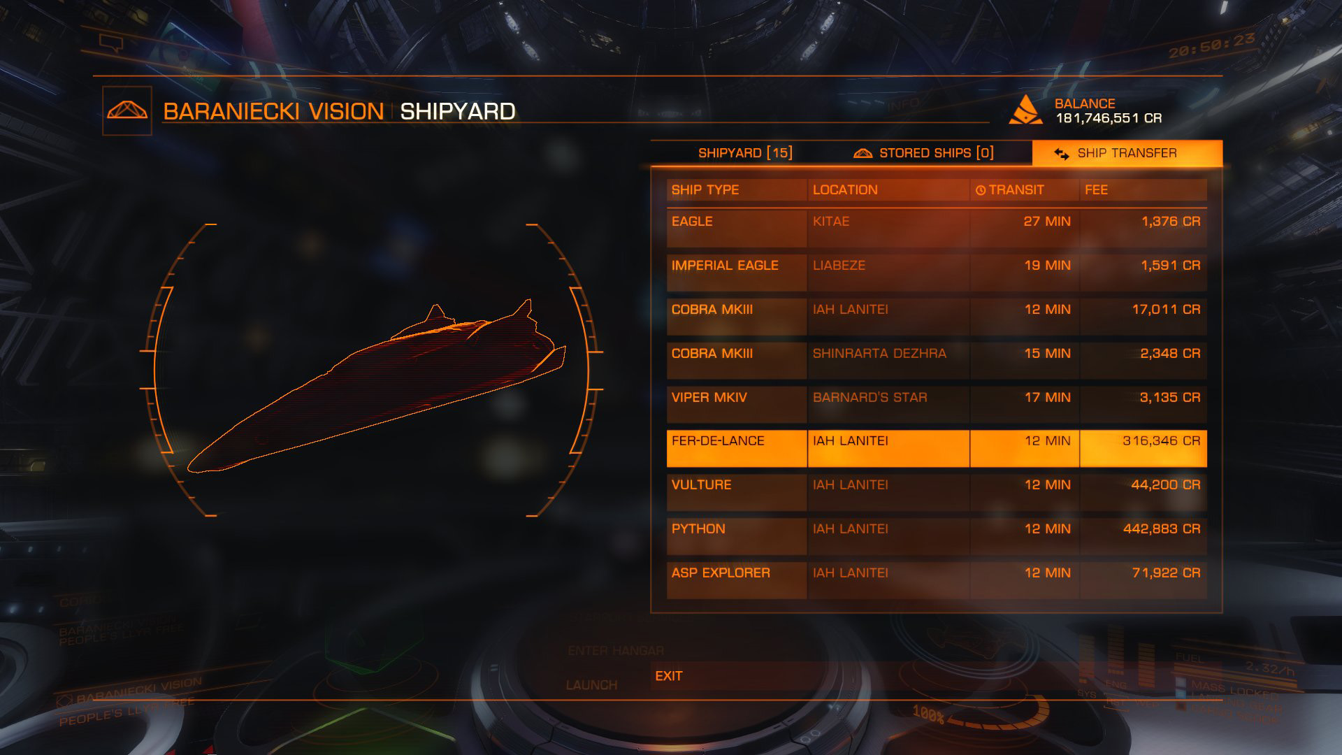 Elite: Dangerous beginner's guide: A screenshot showing the ship transfer screen