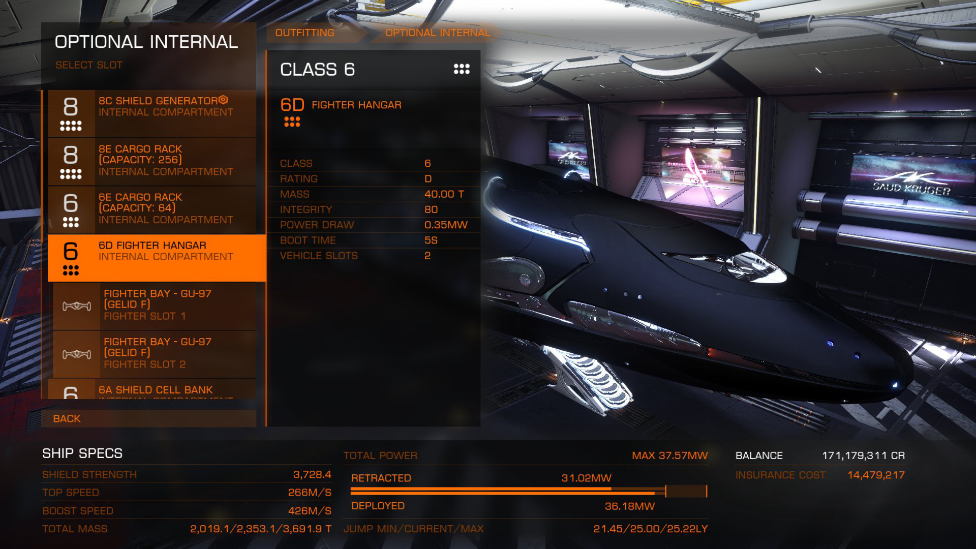 Elite: Dangerous beginner's guide: a screenshot showing where to outfit an SLF