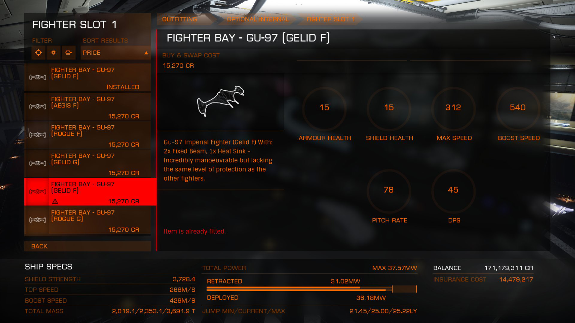 Elite: Dangerous beginner's guide: a screenshot showing SLF outfitting options
