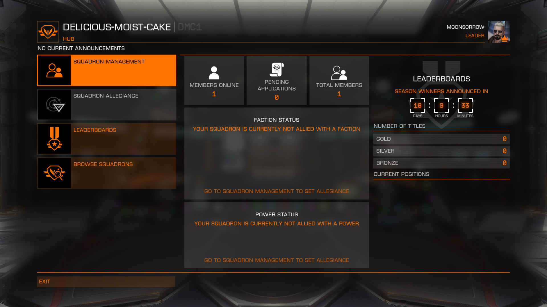 Elite: Dangerous beginner's guide: A screenshot showing the squadron management hub