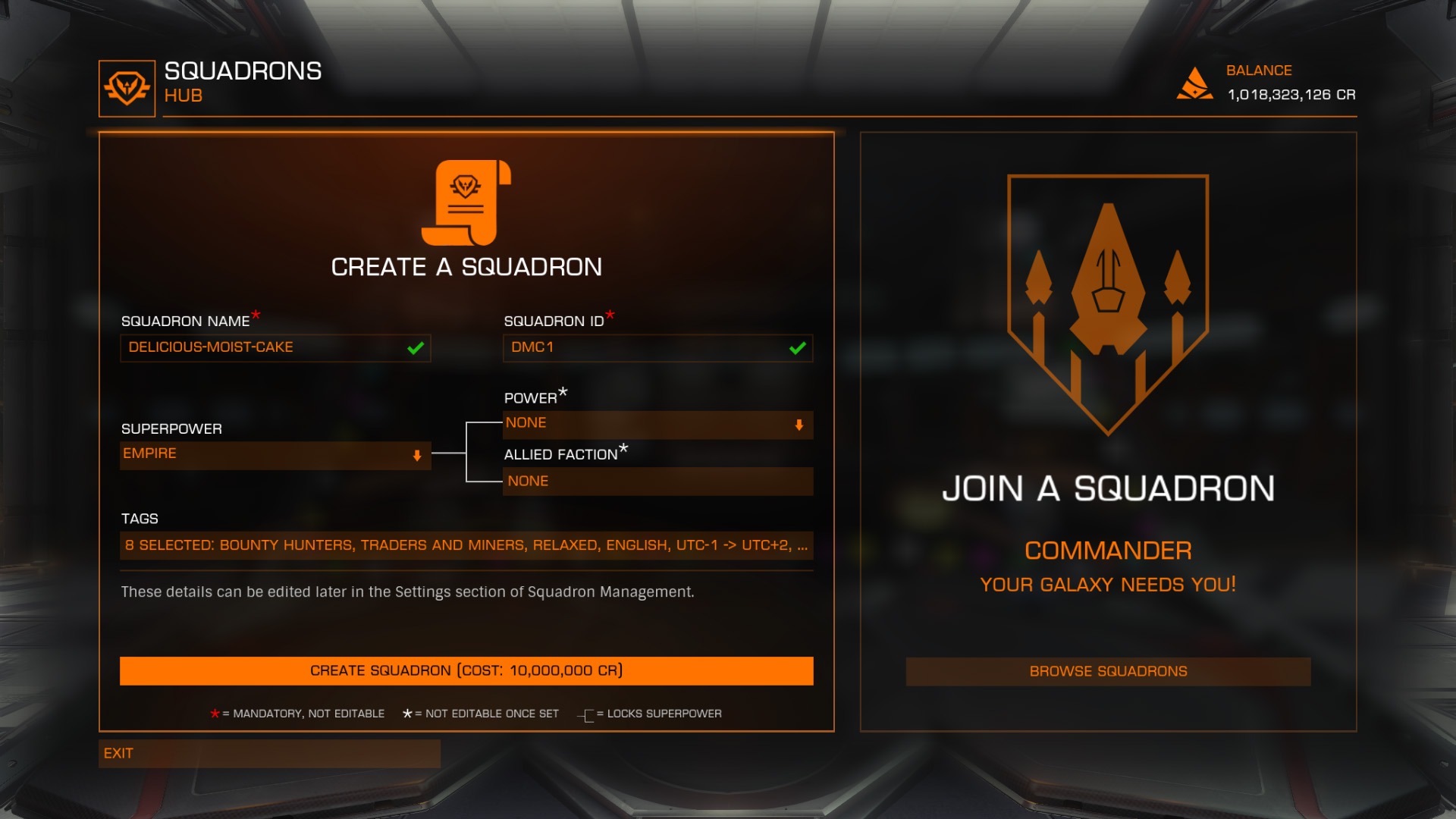 Elite: Dangerous beginner's guide: A screenshot showing how to fill out the Squadrons creation form