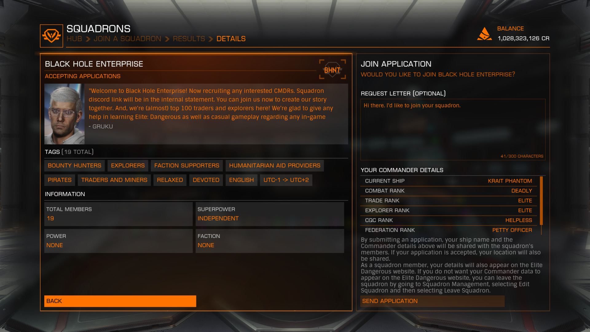 Elite: Dangerous beginner's guide: A screenshot showing how to find a squadron to join