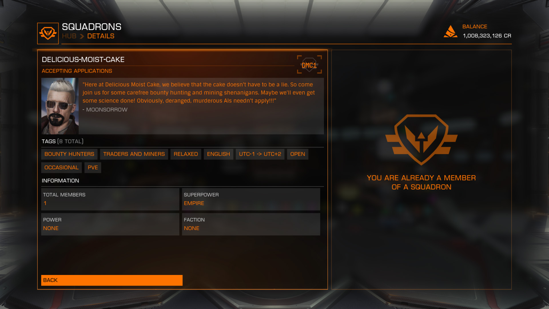 Elite: Dangerous beginner's guide: A screenshot showing the public-facing squadron page.