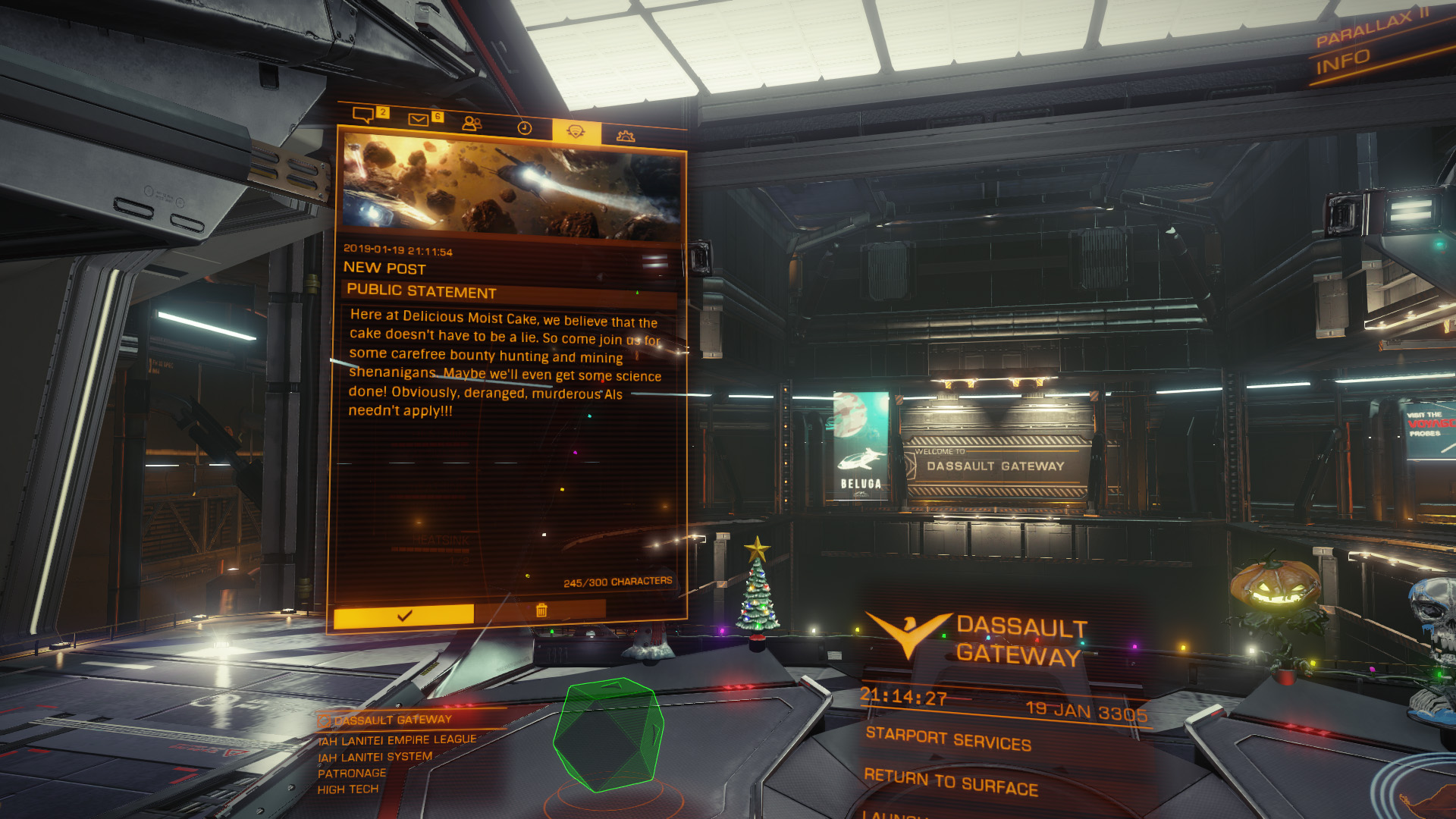 Elite: Dangerous beginner's guide: A screenshot showing how to create a public statement for your squadron