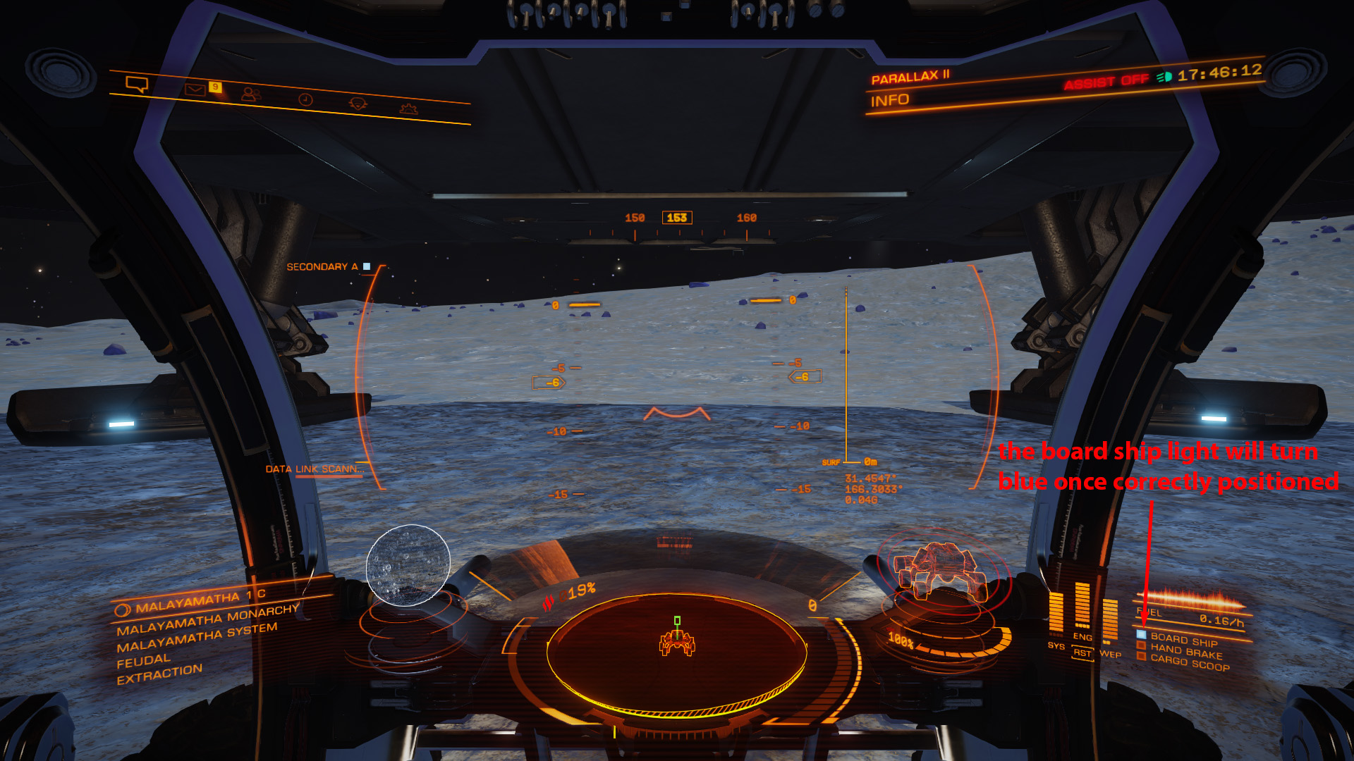 Elite: Dangerous beginner's guide: an annotated screenshot showing how to rejoin your ship when driving an SRV