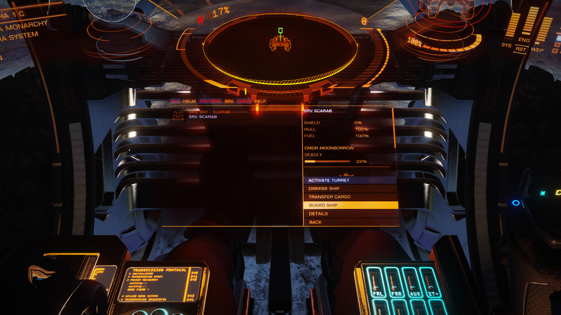 Using the role panel to reboard the ship