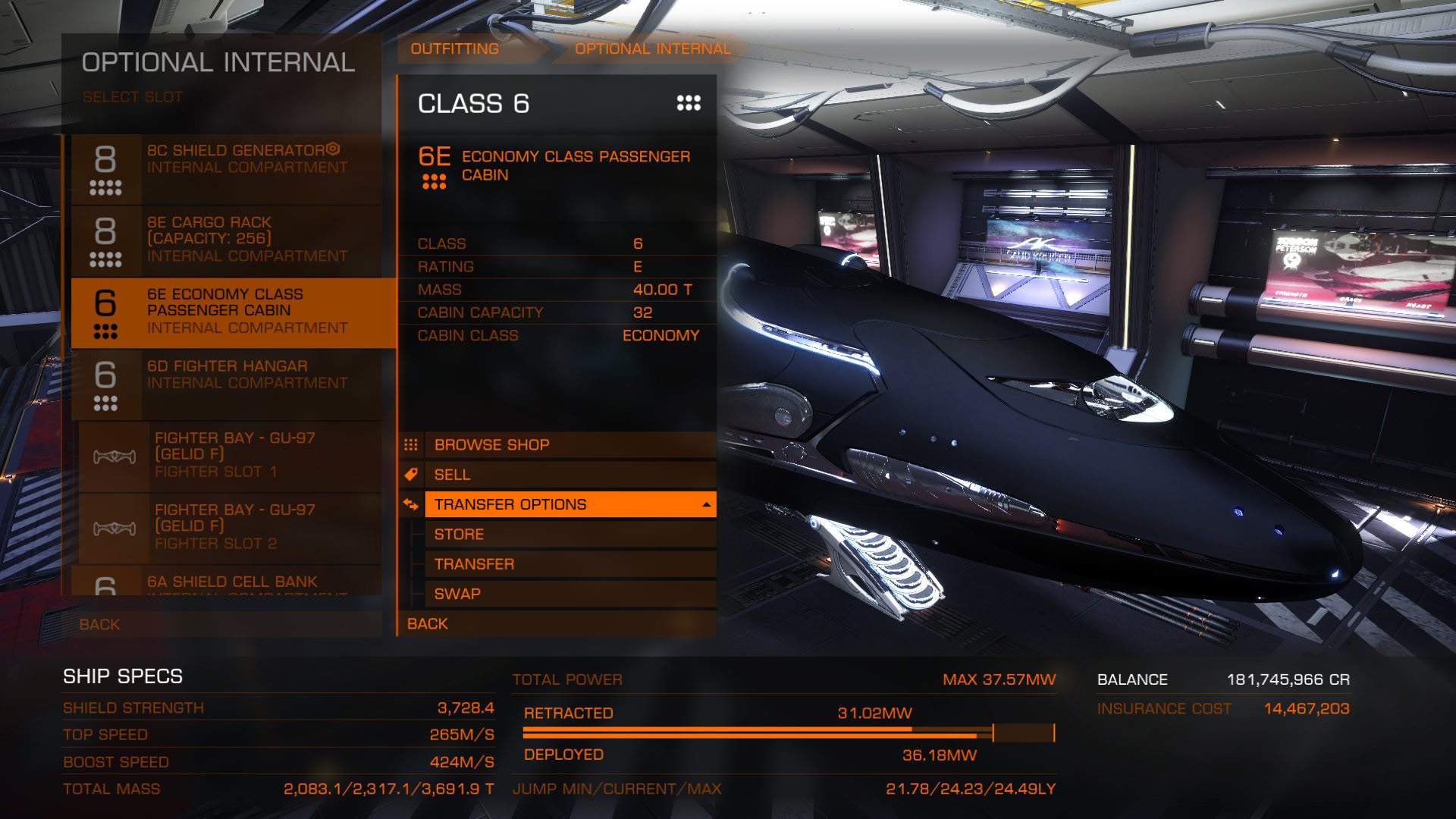 Elite: Dangerous beginner's guide: A screenshot showing how to store modules