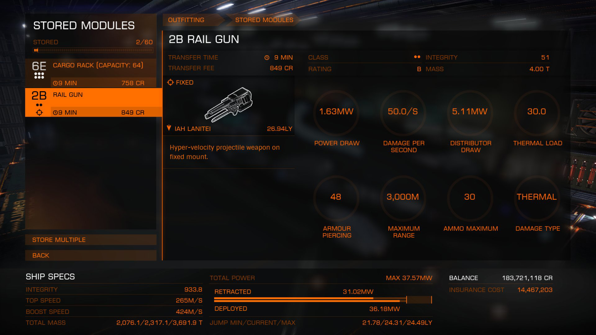Elite: Dangerous beginner's guide: A screenshot showing how to transfer modules