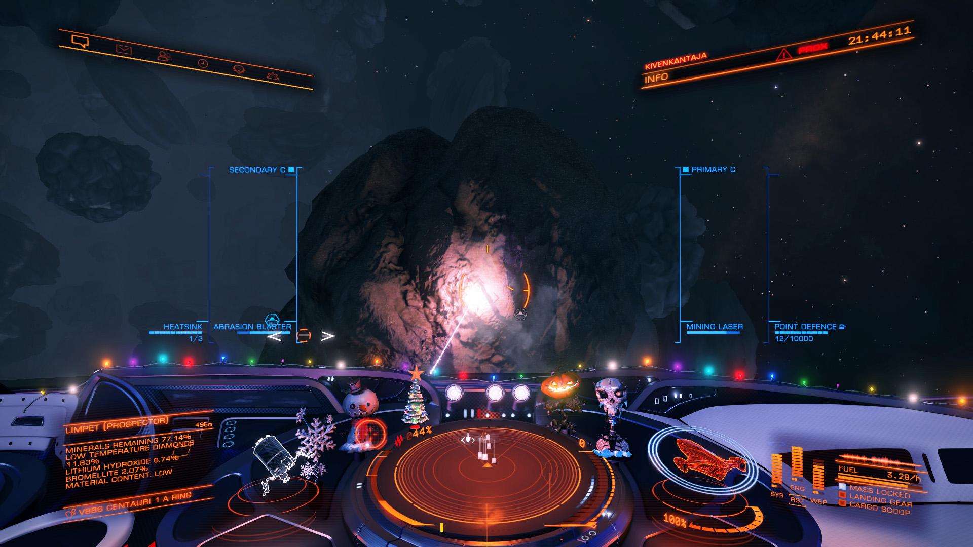 Elite: Dangerous beginner's guide: a screenshot illustrating the procedure for strip mining an asteroid