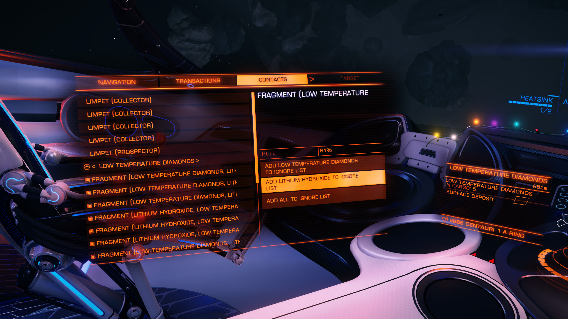 Elite: Dangerous beginner's guide: a screenshot showing how to add or remove metals/minerals from the ignore list