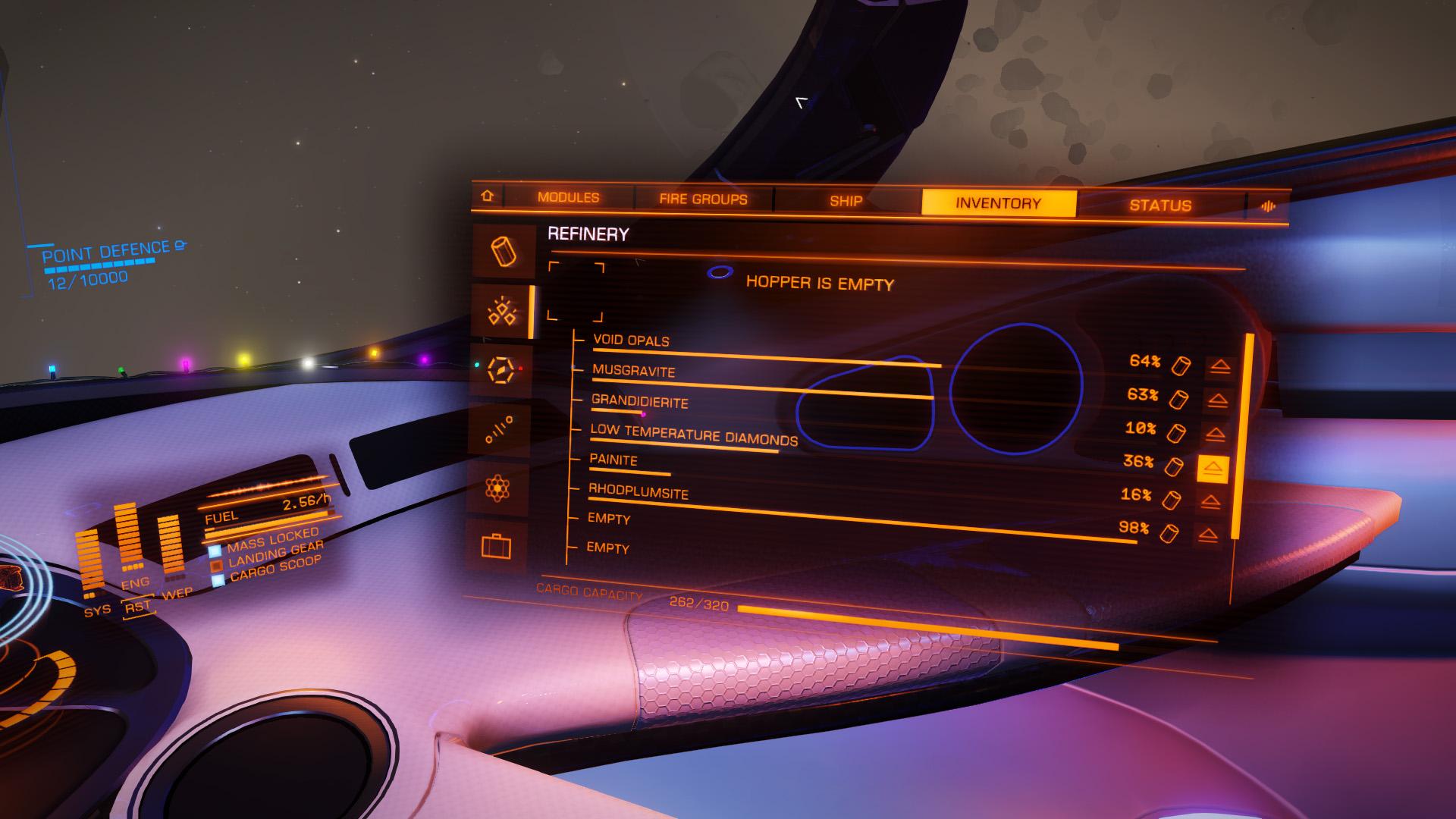 Elite: Dangerous beginner's guide: a screenshot showing the refinery module UI