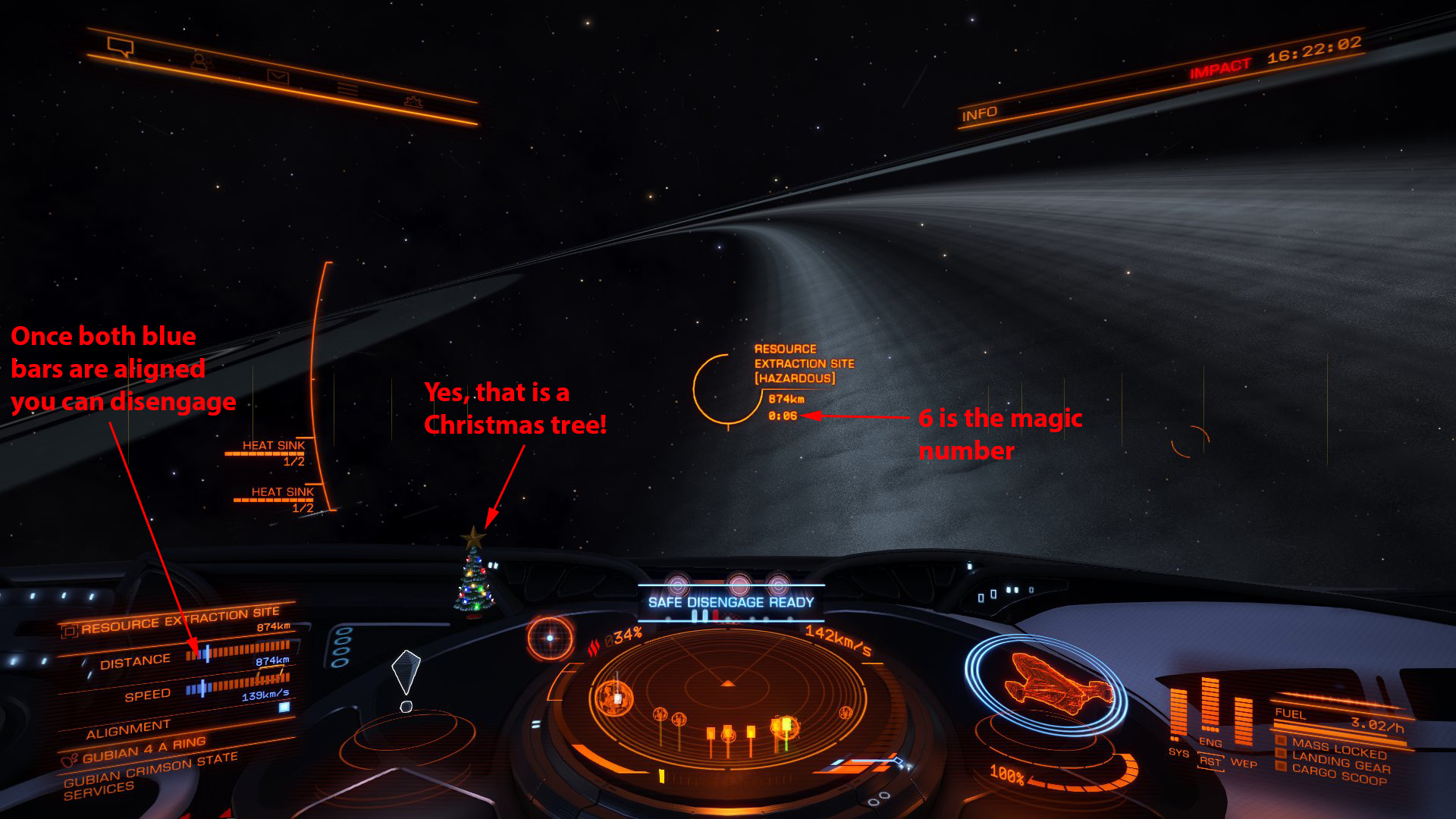Elite: Dangerous beginner's guide: A screenshot illustrating the supercruise 6-second rule