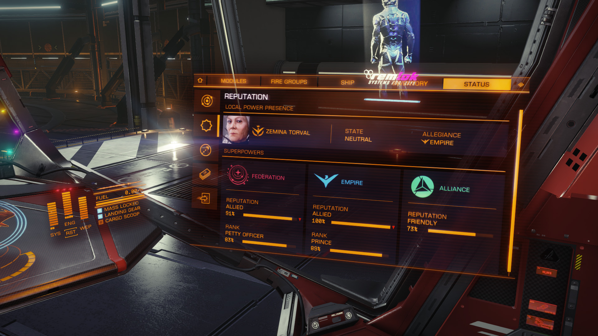 Elite: Dangerous beginner's guide: A screenshot showing where to view your rank and reputation with the three superpowers