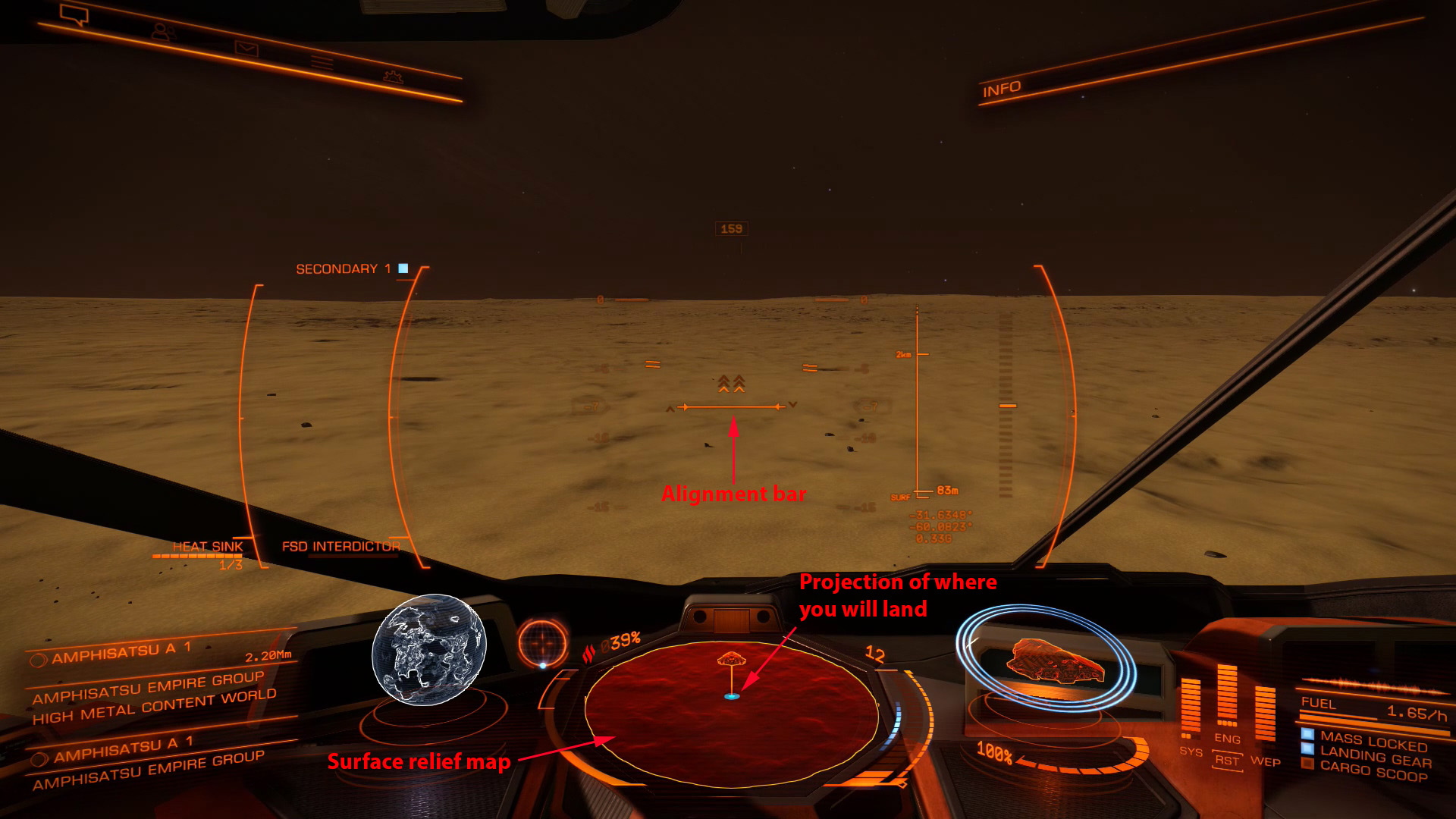 Elite: Dangerous beginner's guide: an annotated screenshot illustrating the landing procedure for planetary surfaces