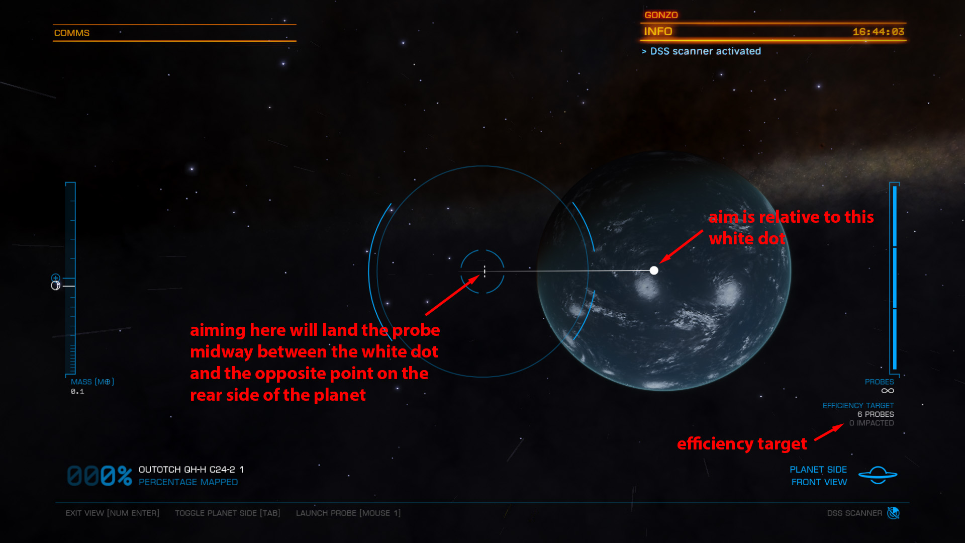 Elite: Dangerous beginner's guide: an annotated screenshot showing how to aim DSS probes
