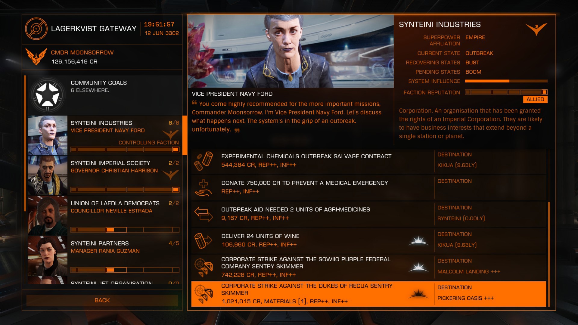 Elite: Dangerous beginner's guide: a screenshot showing surface missions on the missions board