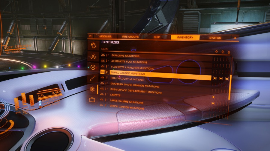 Viewing the synthesis menu under the inventory tab
