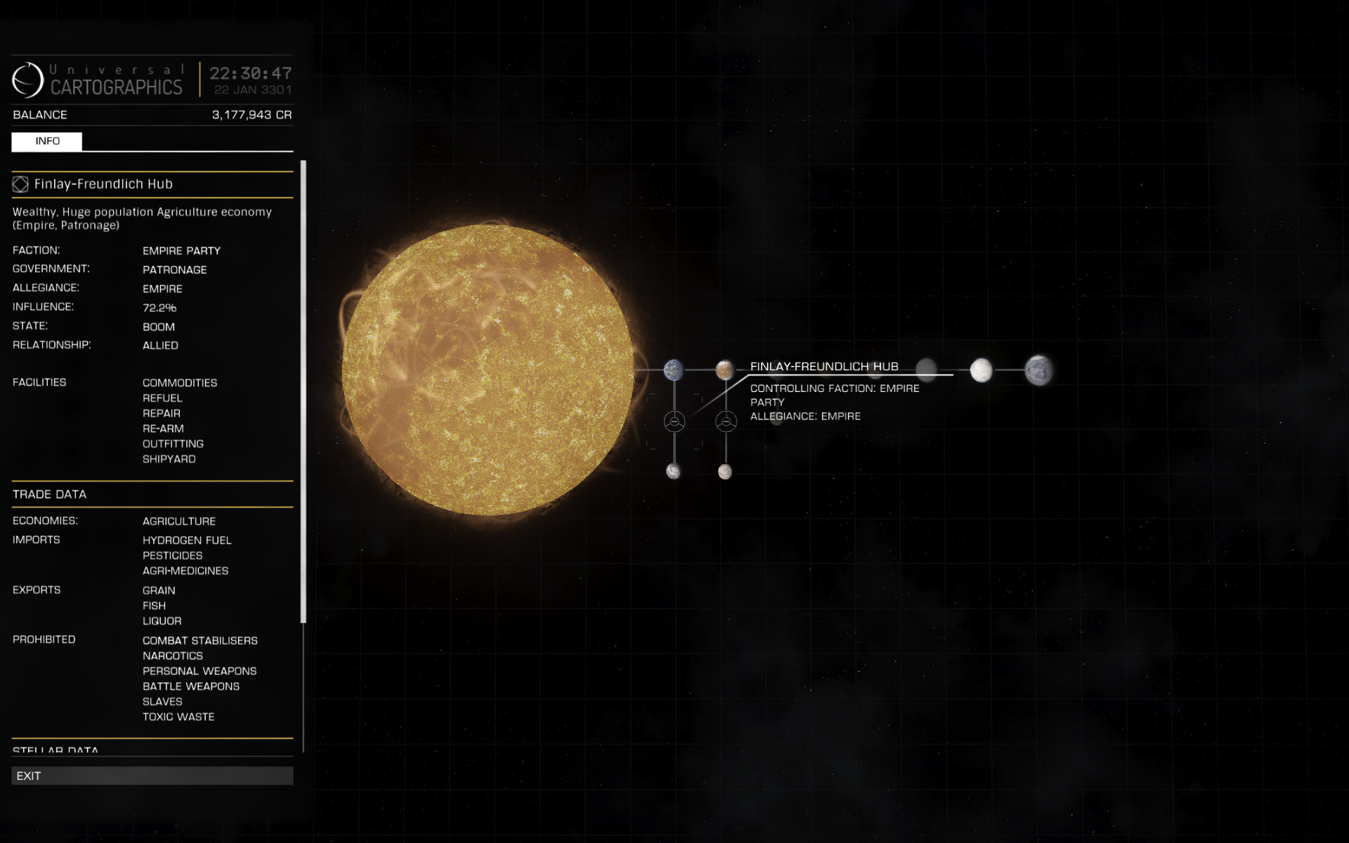 On the system map you can view imports, exports and prohibited commodities for each starport