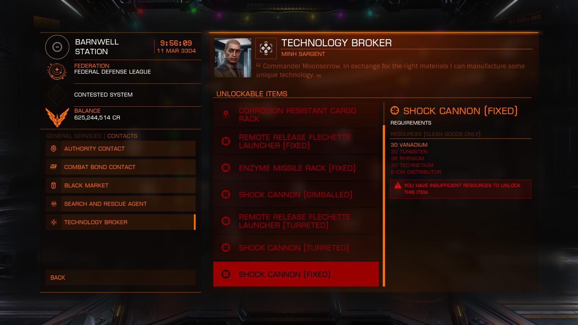 Elite: Dangerous beginner's guide: a screenshot of the technology broker menu