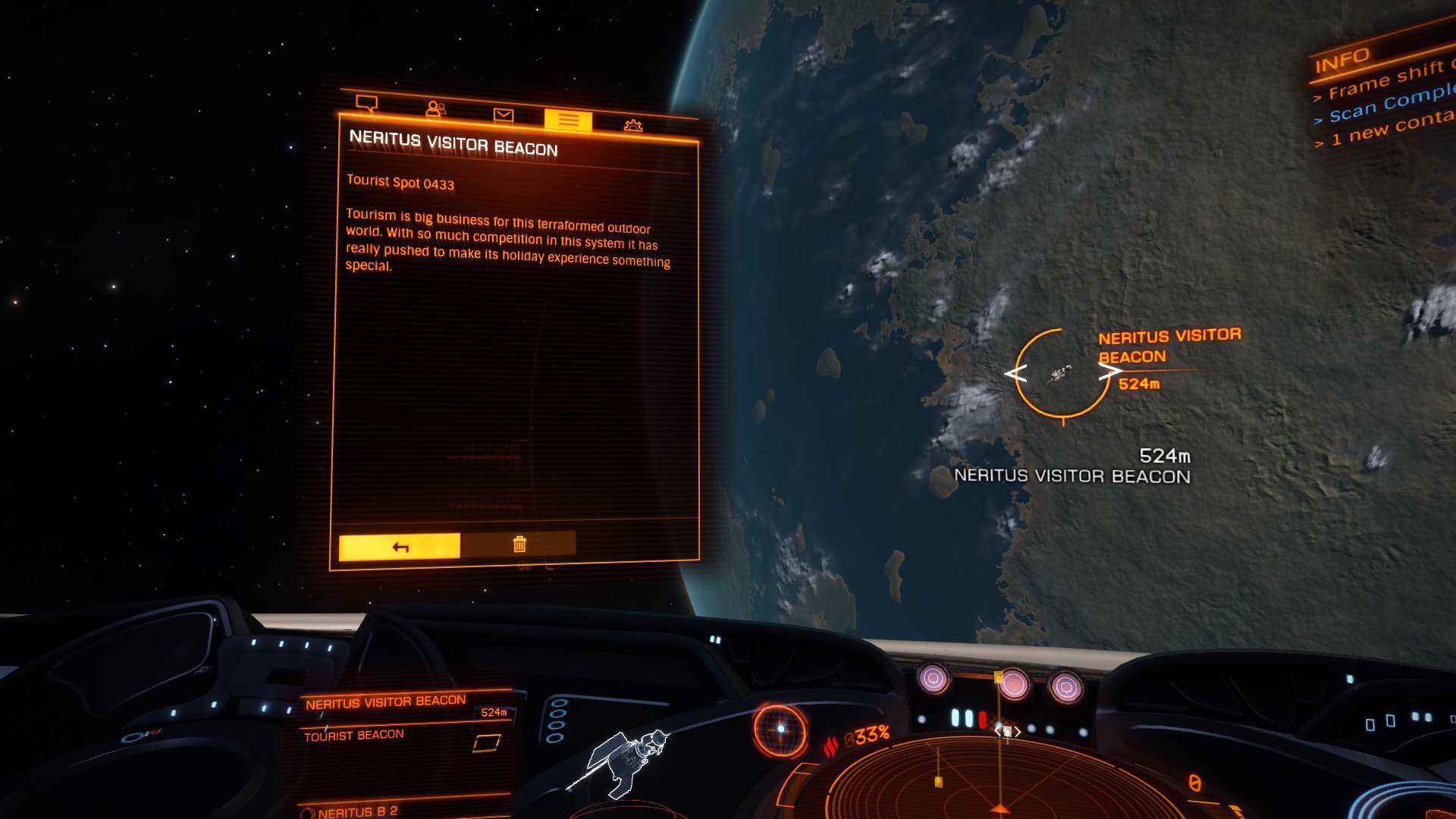 Elite: Dangerous beginner's guide: a screenshot of a tourist beacon orbiting a planet