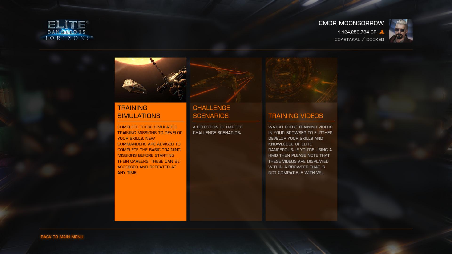 Elite: Dangerous beginner's guide: A screenshot showing the training menu
